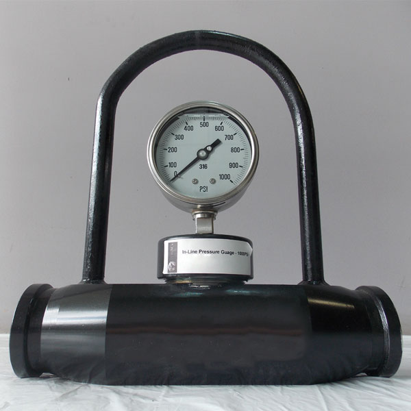 Our in-line pressure gauge has a one piece machined body. No welded parts