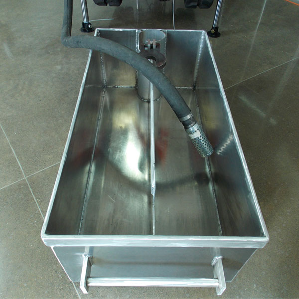 Our standard recirculation mud tub for wet drilling is made from lightweight, durable 6061 aluminum