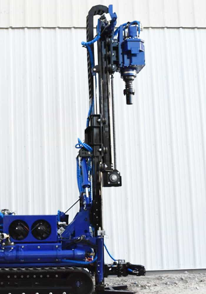 The CGR-138 drilling rig, can tilt its mast for angled drill micro pile installation and rotary drilling