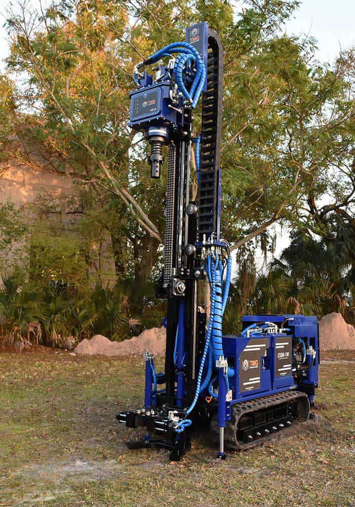 Mini drilling rig for micropile installation and rotary drill CGR-138 with mud pump for wet drilling.