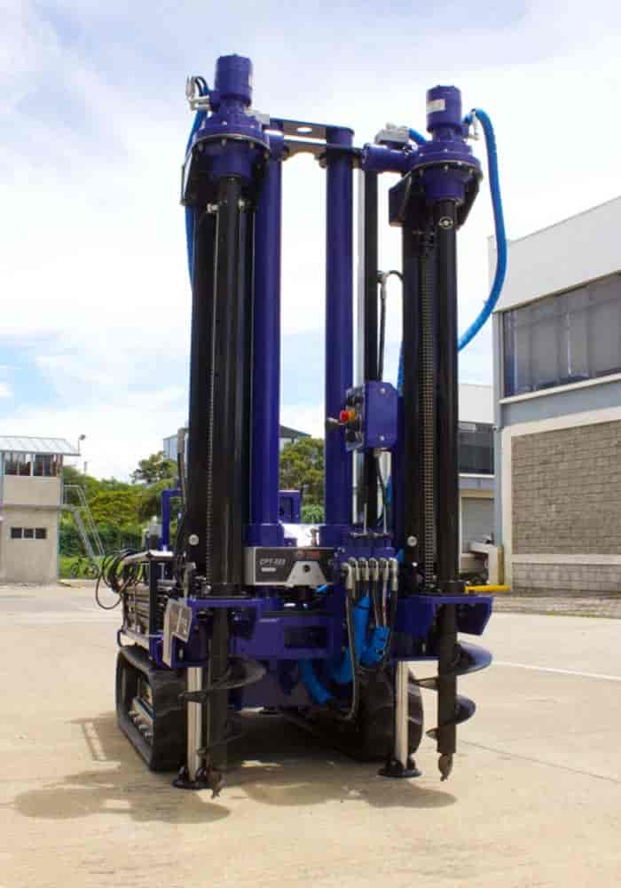 Our small drill rig for soil test using the cpt cone, has a retractable anchoring system