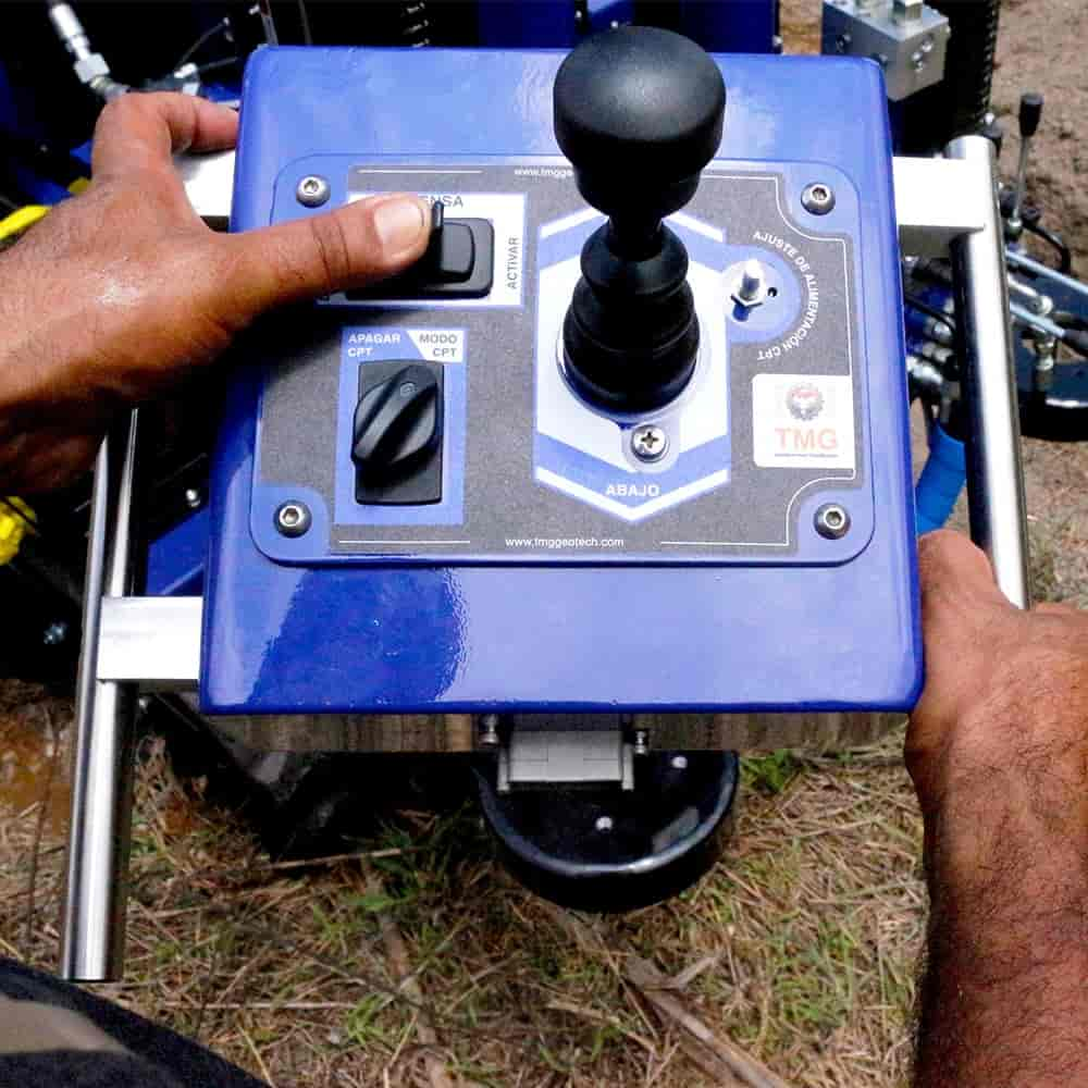 Remote control for CPT cone push system of our CPT soil test drill rig