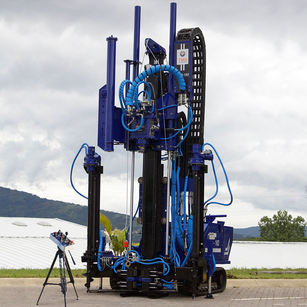 Front view of the CSR-174 a drill rig for soil investigation using SPT, CPT, wireline coring and rotary drilling.