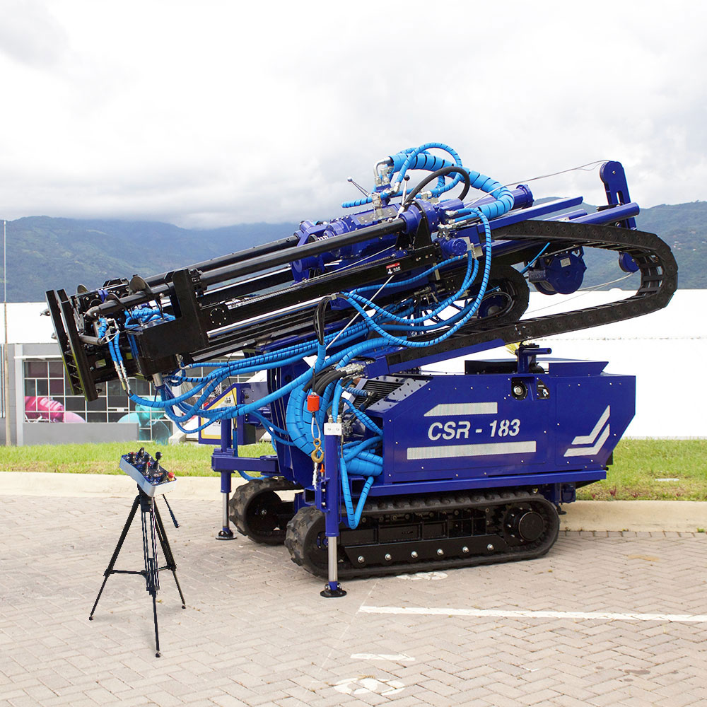 CSR-174, our drill rig for SPT, CPT, wireline coring and rotary drilling, with its mast tilted for travel.