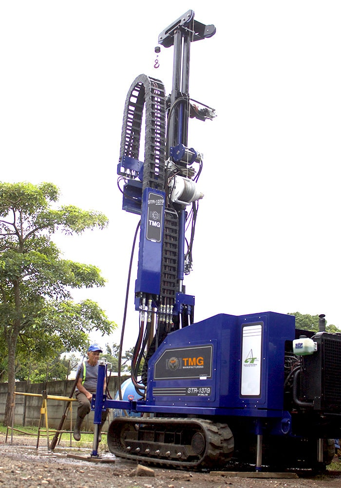 Picture of our STR-137G a soil test drill rig for SPT and wireline rotary core drilling. This drilling rig can take soil samples and can also do wireline coring and rotary drilling.