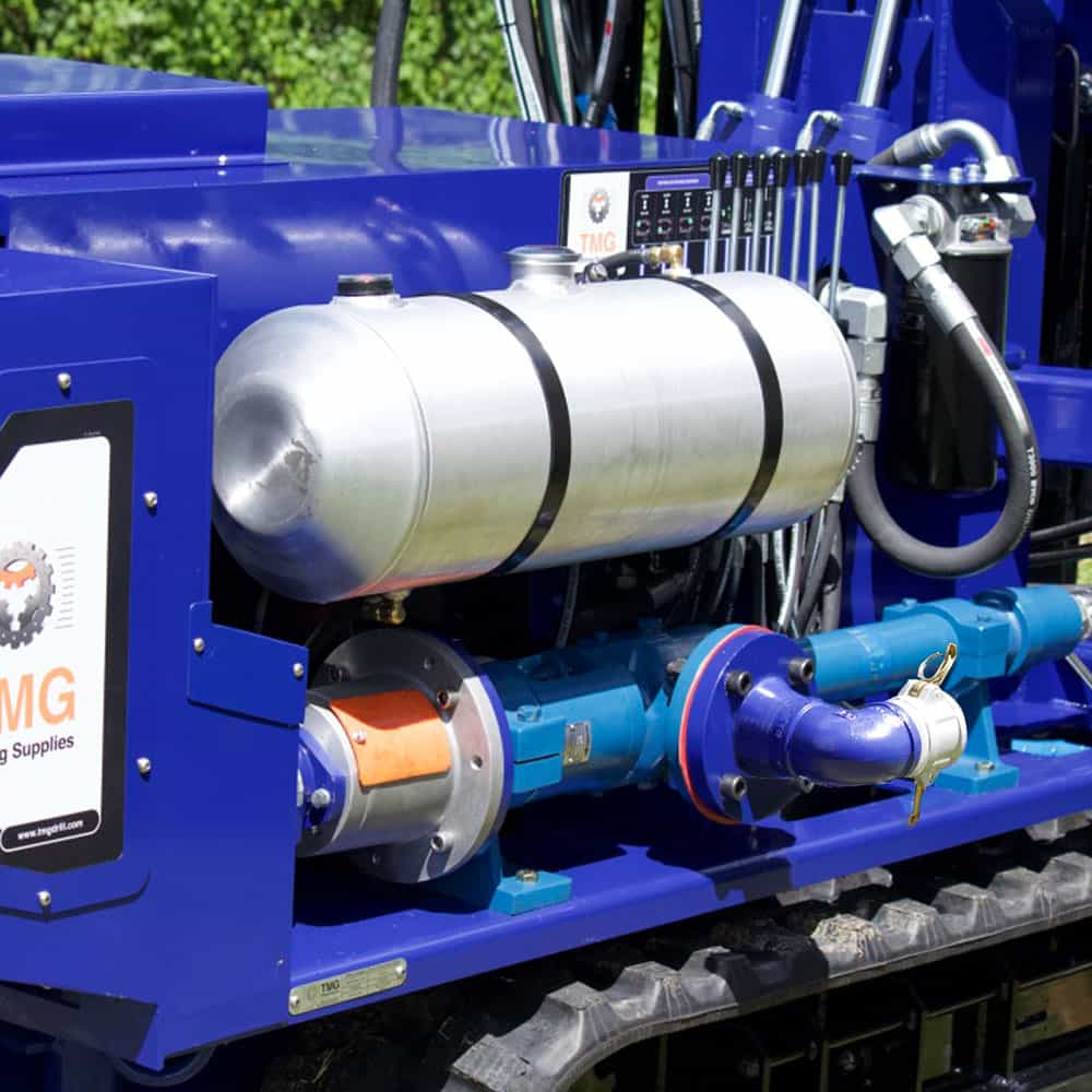 Our STR-155 for SPT, wireline and rotary drilling comes with a water and mup pump on its frame.