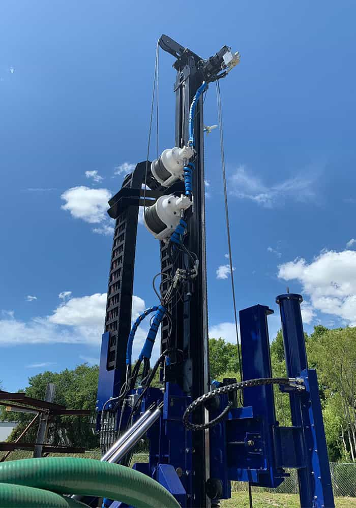 Double winch SPT mast and tower of our STR-174tk SPT wireline rotary core drill rig.
