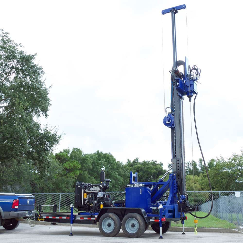 This is our trailer mounted drill rig for water well drilling, made in USA