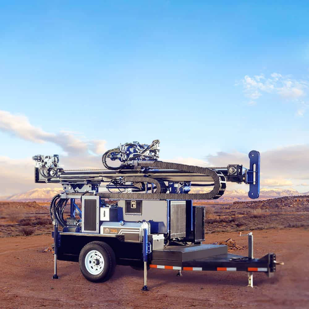 Our most compact water well rig is a trailer mounted unit that can be towed by a pick-up truck.