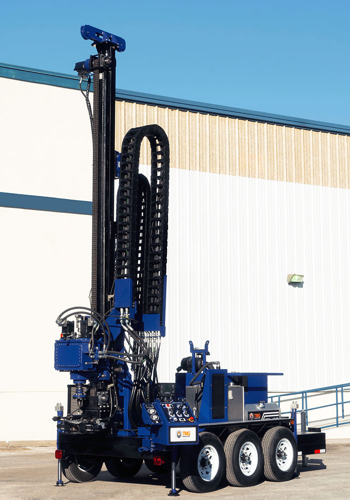 Our water well trailer drill rig comes with double or even triple axle and break system.