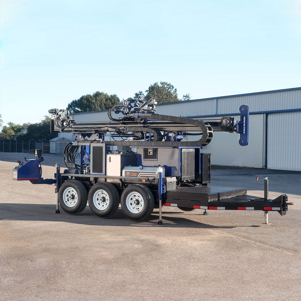 Our new water well rig is a trailer mounted unit that can be towed by a pick-up truck.